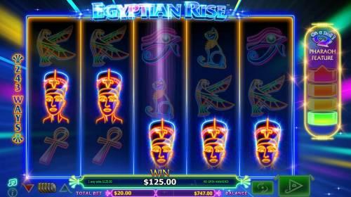 Egyptian Rise Big Bonus Slots A five of a kind triggers 125.00 big win.