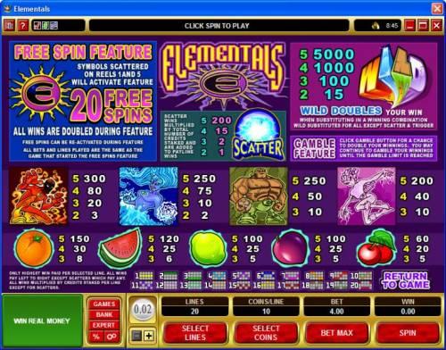 Elementals review on Big Bonus Slots