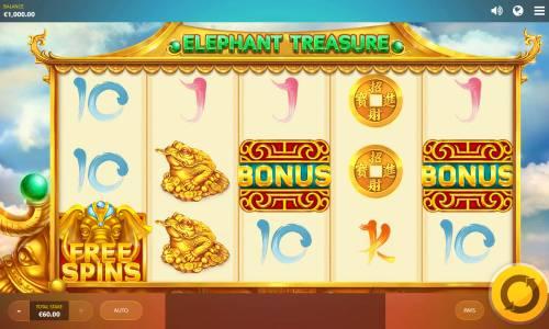 Elephant Treasure Big Bonus Slots Main Game Board