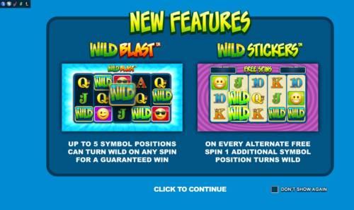 Emoticoins Big Bonus Slots Game features include: Wild Blast and Wild Stickers