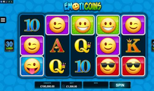 Emoticoins Big Bonus Slots Main game board featuring five reels and 30 paylines with a $460,000 max payout.