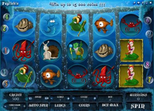 Empire of Seas Big Bonus Slots main game board featuring five reels and nine paylines