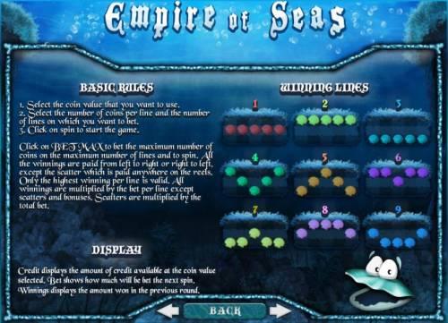 Empire of Seas Big Bonus Slots basic rules and paylines diagrams