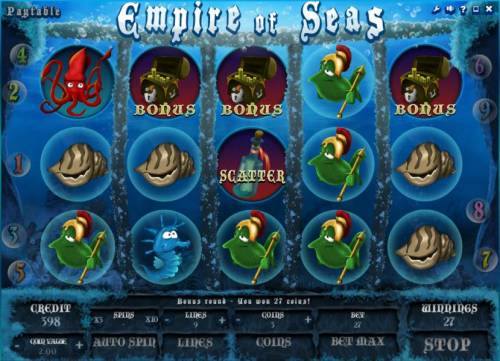 Empire of Seas Big Bonus Slots bonus game triggered