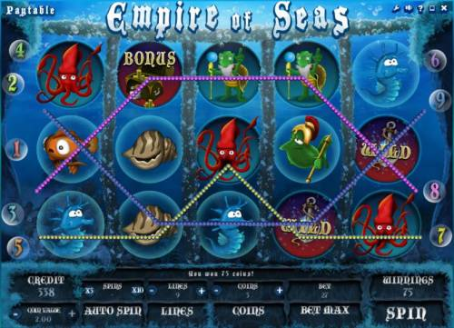 Empire of Seas Big Bonus Slots multiple winning paylines triggers a 75 coin payout