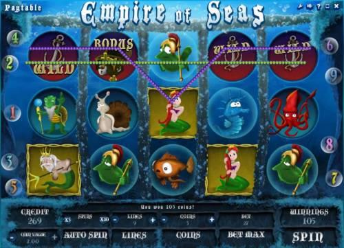 Empire of Seas Big Bonus Slots two winning paylines triggers a 105 coin big win