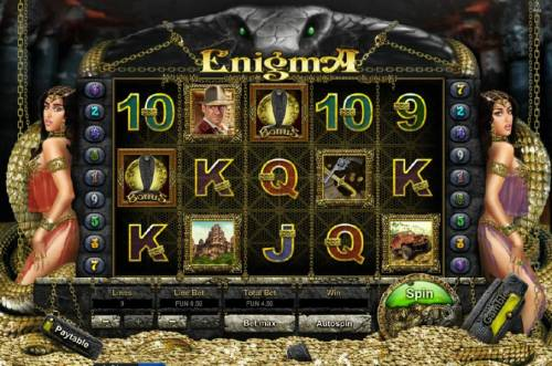 Enigma HD Big Bonus Slots Main game board featuring five reels, nine paylines and gamble feature.
