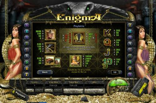 Enigma HD Big Bonus Slots slot game symbols paytable, offering a 3000 coin max payout