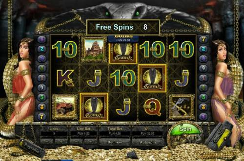 Enigma HD Big Bonus Slots three bonus symbols triggers 8 free games.