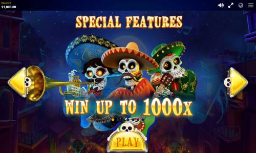 Esqueleto Mariachi Big Bonus Slots Win up to 1000x