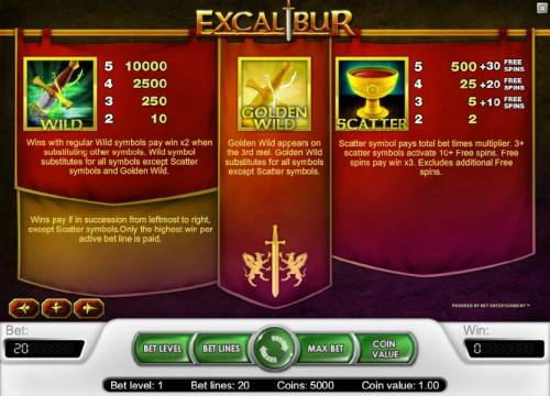Excalibur Big Bonus Slots wild, scatter and gold en wild game rules along with pays
