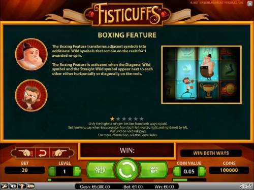Fisticuffs Big Bonus Slots boxing feature game rules