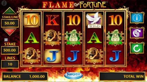 Flame of Fortune Big Bonus Slots Main game board featuring five reels and 10 paylines with a $500,000 max payout