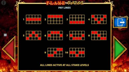 Flame of Fortune Big Bonus Slots Payline Diagrams 1-10, All lines active at all bet levels.