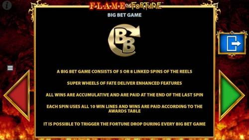 Flame of Fortune Big Bonus Slots Big Bet Game Rules - consistes of 5 or 8 linked spins of the reels.