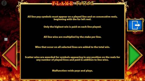 Flame of Fortune Big Bonus Slots General Game Rules