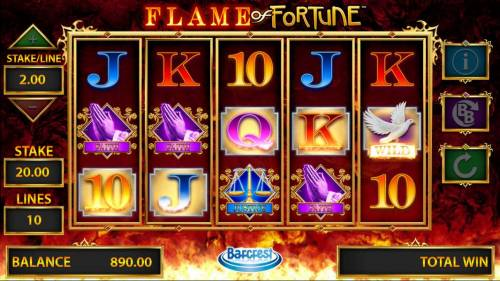 Flame of Fortune Big Bonus Slots 5 Golden Symbols on a winline awards the Fortune Drop.