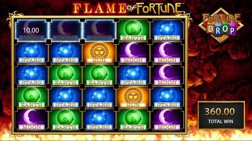 Flame of Fortune Big Bonus Slots Fortune Drop game play ends when there are no more matching combinations available.