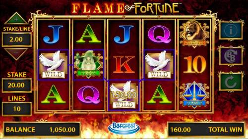 Flame of Fortune Big Bonus Slots A four of a kind leads to a 150.00 line pay.