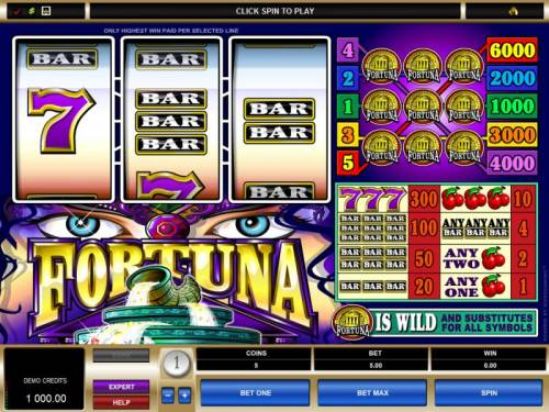 Fortuna Big Bonus Slots main game board featuring 3 reels and 5 paylines