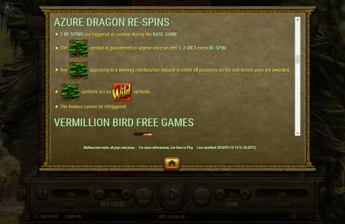 Four Divine Beast Big Bonus Slots Azure Dragon Re-Spins