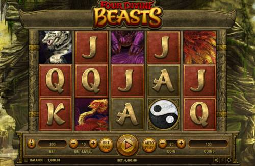 Four Divine Beast Big Bonus Slots Main Game Board