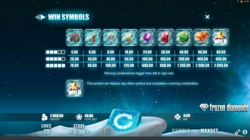 Frozen Diamonds Big Bonus Slots Slot game symbols paytable - Winning combinations trigger from left to right reel.
