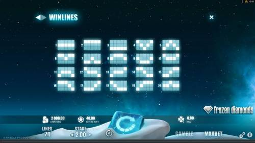 Frozen Diamonds Big Bonus Slots Payline Diagrams 1-20