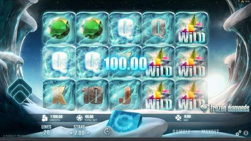 Frozen Diamonds Big Bonus Slots A five of a kind triggers a 100.00 payout