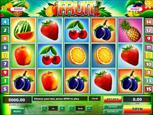 Fruit Big Bonus Slots Main game board featuring five reels and 15 paylines with a $1,250,000 max payout