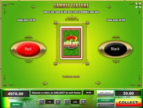 Fruit Big Bonus Slots Gamble Feature - To gamble any win press Gamble then select Red or Black.