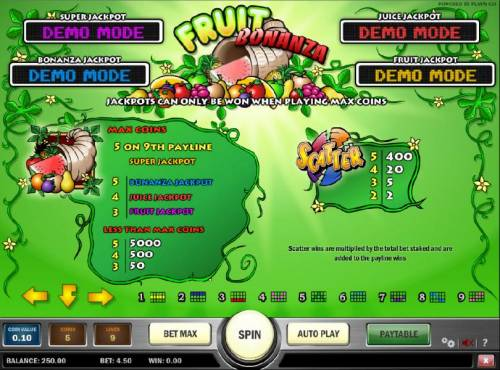 Fruit Bonanza Big Bonus Slots slot game symbols paytable