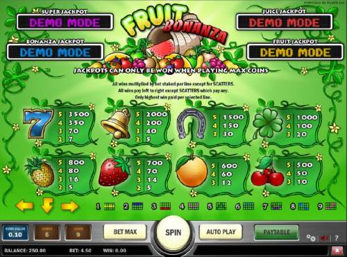 Fruit Bonanza Big Bonus Slots slot game symbols paytable continued and payline diagrams