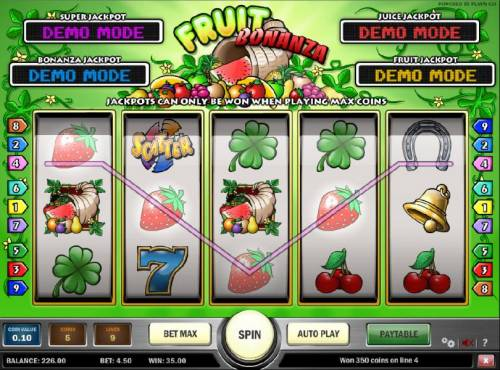Fruit Bonanza Big Bonus Slots four of a kind triggers a $35.00 jackpot