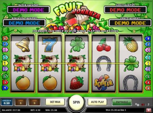 Fruit Bonanza Big Bonus Slots three jackpot symbols triggers the fruit jackpot