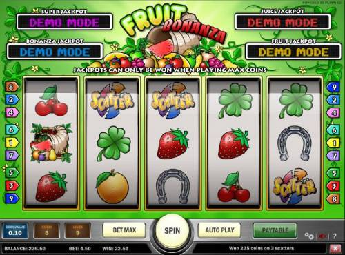 Fruit Bonanza Big Bonus Slots three scatter stmbols triggers a $22.50 payout