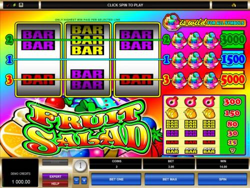 Fruit Salad Big Bonus Slots main game baord featuring 3 reels and 3 paylines