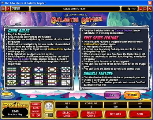 Galatic Gopher review on Big Bonus Slots