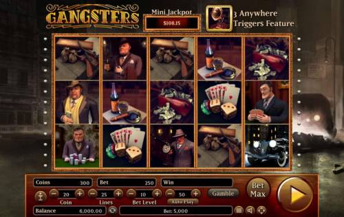 Gangsters Big Bonus Slots Main game board featuring five reels and 25 paylines with a $2,500,000 max payout.