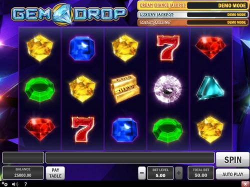 Gem Drop Big Bonus Slots Main Game Board