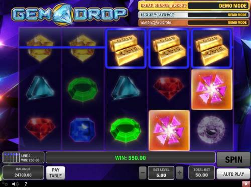 Gem Drop Big Bonus Slots Multiple winning paylines triggers a big win