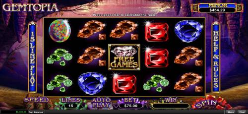 Gemtopia Big Bonus Slots Main game board featuring five reels and 15 paylines with a $250,000 max payout.