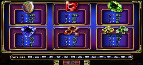 Gemtopia Big Bonus Slots Paytable
