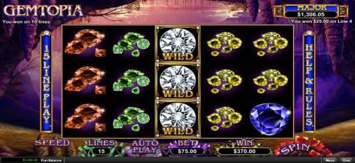 Gemtopia Big Bonus Slots Re-spin feature triggers multiple winning paylines