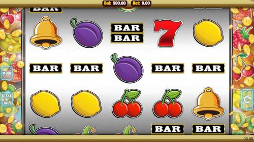 Get Fruity Big Bonus Slots Main game board featuring five reels and 9 paylines with a $22,500 max payout.
