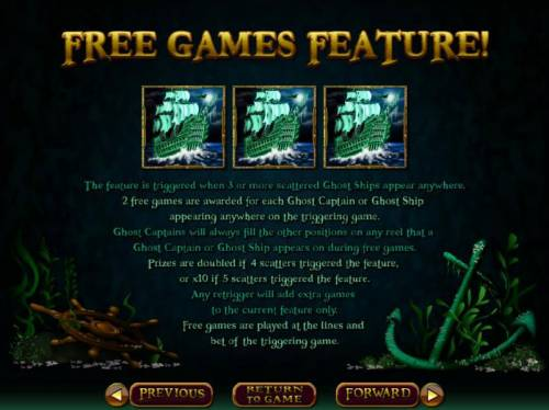 Ghost Ship Big Bonus Slots Free Games Feature - The feature is triggered when 3 or more scattered ghost ships appear anywhere. 2 free games are awarded for each ghost ship or ghost captain appearing anywhere on the triggering game.
