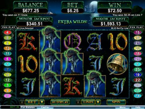 Ghost Ship Big Bonus Slots Multiple winning paylines triggered by Ghost Captain wild symbols.