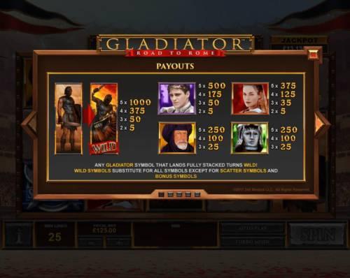 Gladiator Road to Rome Big Bonus Slots High value slot game symbols paytable