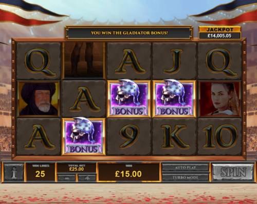 Gladiator Road to Rome Big Bonus Slots Bonus game triggered