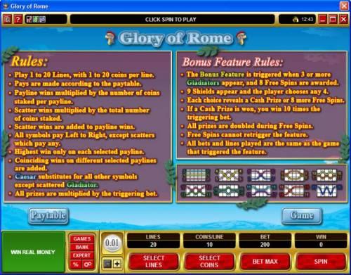 Glory of Rome review on Big Bonus Slots